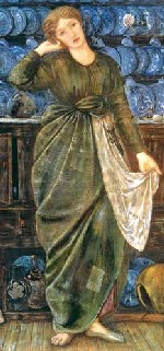 Cenicienta. Acuarela de E. Burne-Jones.